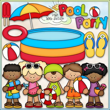 Pool Party Clip Art - Swimming Clip Art - Kids Swimming -