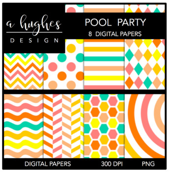 Pool Party {12x12 Digital Papers for Commercial Use}