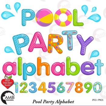 Pool Party Alphabet and Clipart, {Best Teacher Tools} AMB-2436