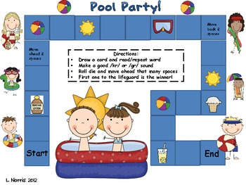Pool Party!  Articulation Speech Therapy Literacy Game for /gr/ /kr/