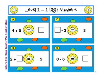 Pool Party Beach Equations - Find the Missing Number - 3 Levels CC
