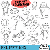 Pool Party Boys Clip Art Collection (BLACK AND WHITE ONLY)