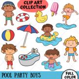 Pool Party Boys Clip Art Collection (FLAT COLOR ONLY)