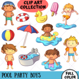 Pool Party Boys Clip Art Collection (FULL COLOR ONLY)