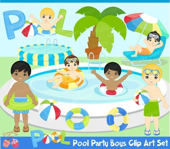 Pool Party Boys Clipart Set