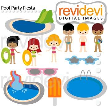 Pool Party Clip Art - Summer digital clipart