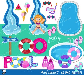 Pool Party Clipart, Swim Girls Digital Clipart Set, Summer girls