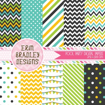 Pool Party Digital Paper Background Graphics