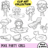 Pool Party Girls Clip Art Collection (BLACK AND WHITE ONLY)