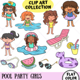 Pool Party Girls Clip Art Collection (FLAT COLOR ONLY)