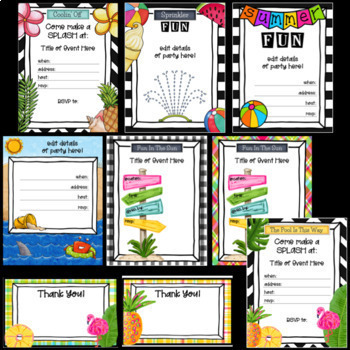 Pool Party Invitations and Thank You Notes ~ Editable