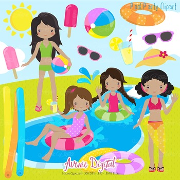 Pool Party Scrapbook printable illustrations - vectors - pngs