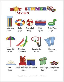 Pool Party Shopping Math Activity