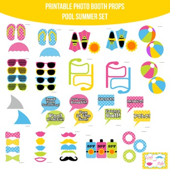 Pool Party Summer Printable Photo Booth Prop Set