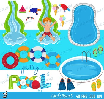 Pool Party Swim Boys Digital Clipart Set -Personal and Commercial Use.