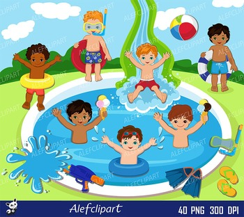 Pool Party Swim Boys Digital Clipart Set -Personal and Com
