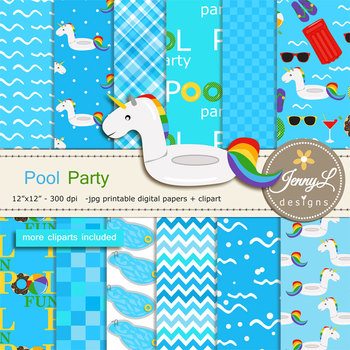 Pool Party digital paper and Unicorn float clipart