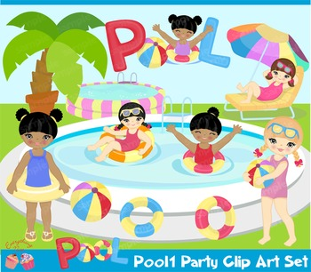 Pool Party1 Girls Clipart Set