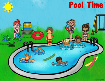 Grammar (Nouns, Verbs, Adj), Math, Writing ~ Pool Time Scene Card