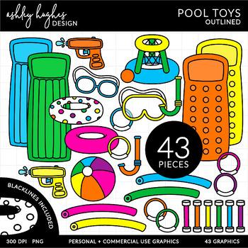 Pool Toys Clipart {A Hughes Design}