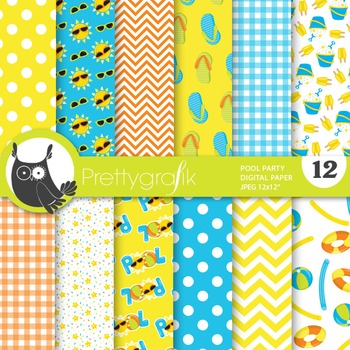 Pool party digital paper, commercial use, scrapbook papers
