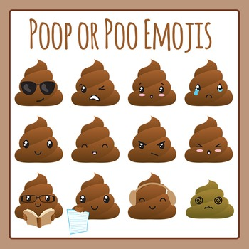 Poop Emoji or Poo Characters Clip Art Set for Commercial Use