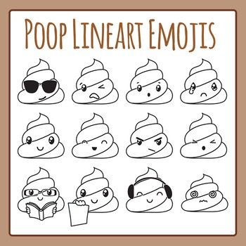 Poop Lineart Emoji or Black and White Poop Characters Clip Art Commercial Use