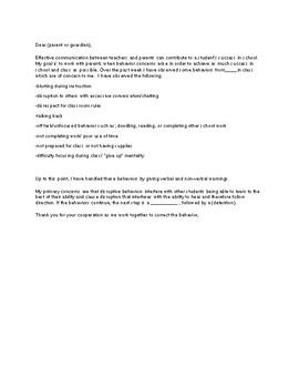 Poor Behavior Letter/Email Template