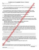 Poor Behavior Unacceptable Academics of a Student Contract