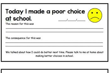 Poor Choice Note Home (Behavior Log/Chart)