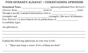 Poor Richard's Almanac Aphorism study