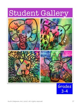 Pop Art Animals: Lions, Elephants, Leopards + Giraffes Art Lesson for Grades 3-6