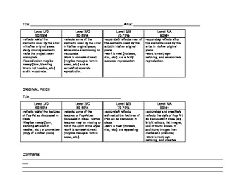 Pop Art Assignment and Rubric