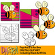 Pop Art B is for Bee Clip Art (color, black and white) fun coloring and counting