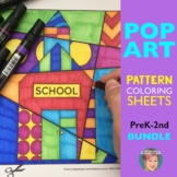 """Pop Art"" Pattern-filled Coloring Pages (K-2) for ALL YEAR (w/ Valentine's Day)"