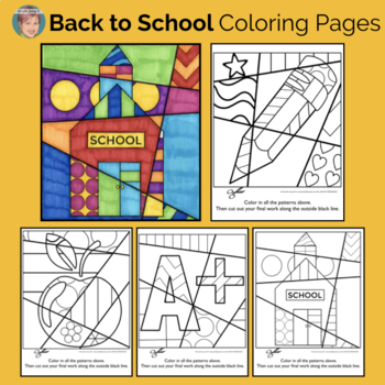 Bundle of Coloring Pages (K-2) w/images for ALL YEAR | Back to School Activity