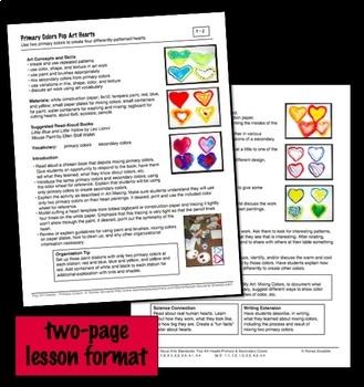 Valentine's Day Art Lesson - Pop Art Hearts - Primary Colors