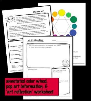 Art Lesson Valentine's Day Pop Art Hearts Primary Colors