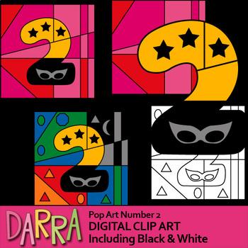Pop Art Number 2 Superhero (coloring, color by code clip art)