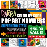 Pop Art Numbers Clip Art Superhero Color By Code Coloring