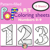Numbers 0 to 9 Pop Art Coloring Sheets