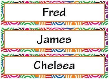 Pop Art Theme Name Cards