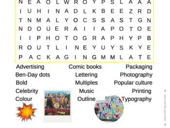 Pop Art Word Search - lesson starter, plenary, cover, literacy, homework...