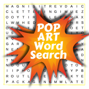Pop Art Word Search - lesson starter, plenary, cover, lite