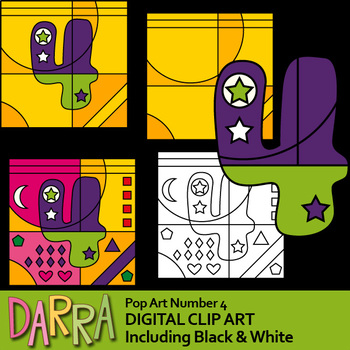 Pop Art clipart number 4 (coloring, color by codes clip art template)