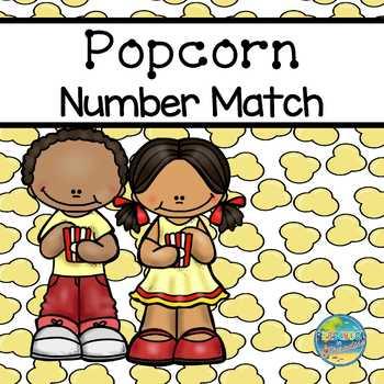 Popcorn Number Match File Folder Game