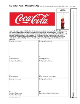 Pop Culture Puzzle - Complementary Supplementary and Vertical Angles - Coca-Cola