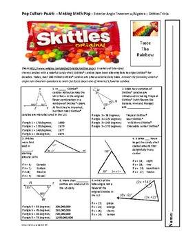 Pop Culture Puzzle - Exterior Angle Sum Theorem with Algebra - Skittles Trivia