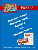 Pop Culture Puzzle - Exterior Angle Sum Theorem with Algebra - Skittles Trivia