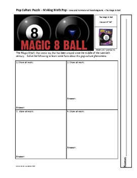 Pop Culture Puzzle - Geometry Area and Perimeter of Parallelograms-Magic 8-Ball